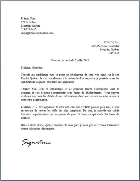 Lettre De Motivation De Informatique Lettre De Motivation Lettre Type De Motivation Jaoloron