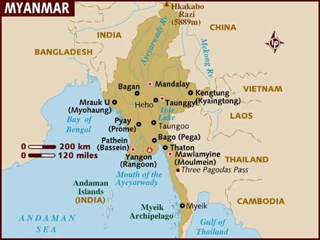 where is myanmar on the map map of myanmar