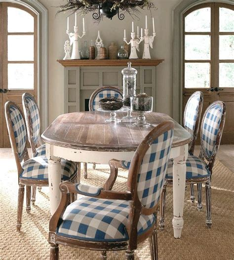 blue checkered  farmhouse dining room table