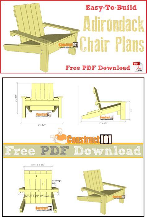 simple adirondack chair plans