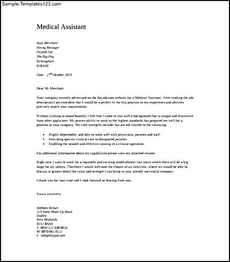 medical assistant cover letter exle pdf template free