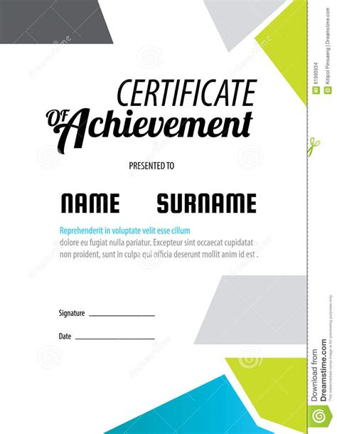 certificate template diploma letter size vector stock