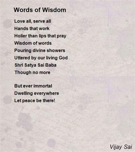 Brief Words Of Wisdom Words Of Wisdom Poem By Vijay Sai Poem