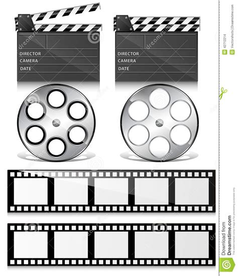 Smiles Wheels Let The Times Roll by Clap Board And Reel Vectors Stock Illustration