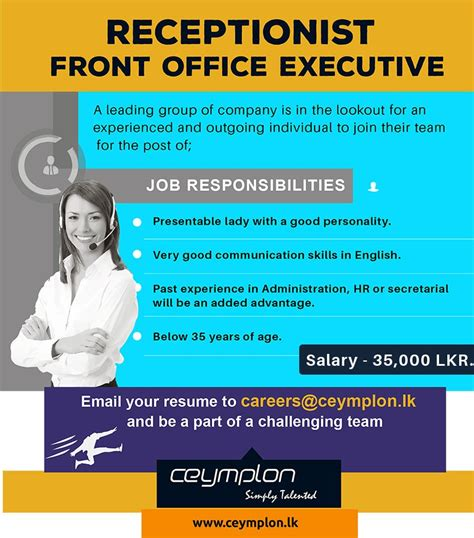 Office Desk Pictures receptionist front office executive jobs vacancies ceymplon