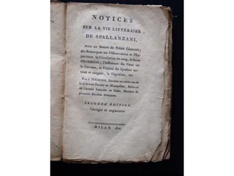 livre spallanzani tourdes notices sur la vie litt 233 raire de spallanzani