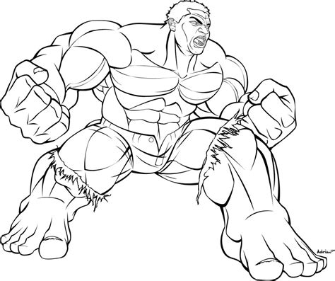 hulk coloring pages easy i m the hulk b and w by sircle on deviantart