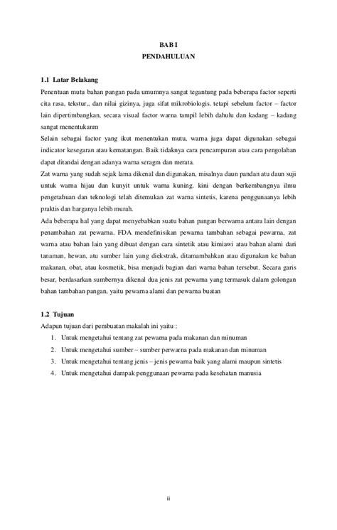 contoh laporan zat makanan makalah zat pewarna pada makanan