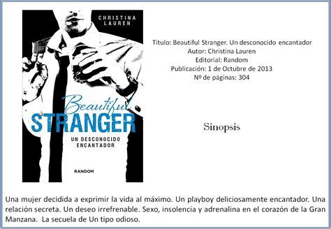 libro beautiful stranger un desconocido dragones en el pa 237 s de los libros rese 241 a beautiful stranger un desconocido encantador