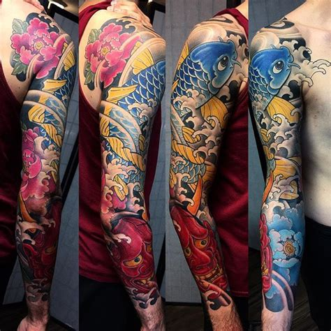 japanese koi sleeve tattoo by bardadim tattoo artist