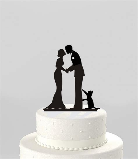 Topper Siluet Wedding Acrilik wedding cake topper silhouette groom and with cat mr mrs acrylic cake topper ct78pc