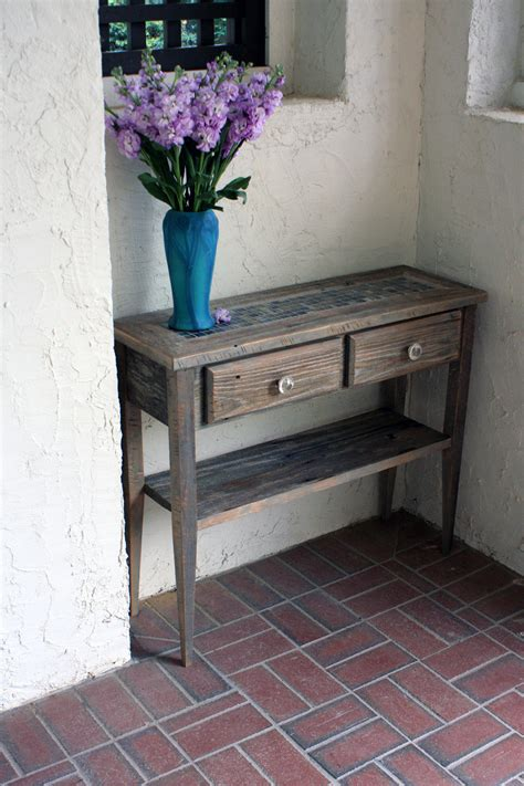 Small Table For Entryway Small Sofa Entry Table Gray Reclaimed By Natureinspiredcrafts
