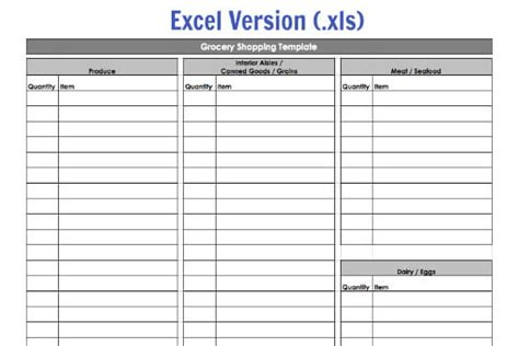 meal planning and shopping list excel template grocery shopping template my routine 100 days of