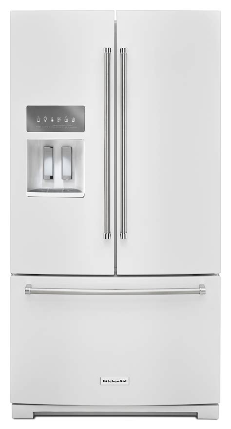 standard depth door refrigerator kitchenaid krff507ewh 26 8 cu ft 36 quot width standard