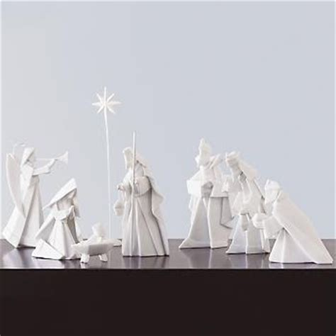 Porcelain Origami Nativity Set - the kersten haus modern nativity