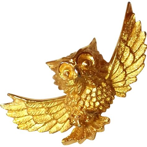vintage trifari owl pin gold tone trifari crown sold on