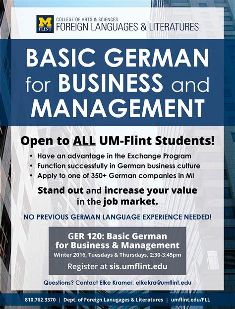 New Um Flint Course Looks by New German Course Focuses On Business Management Um