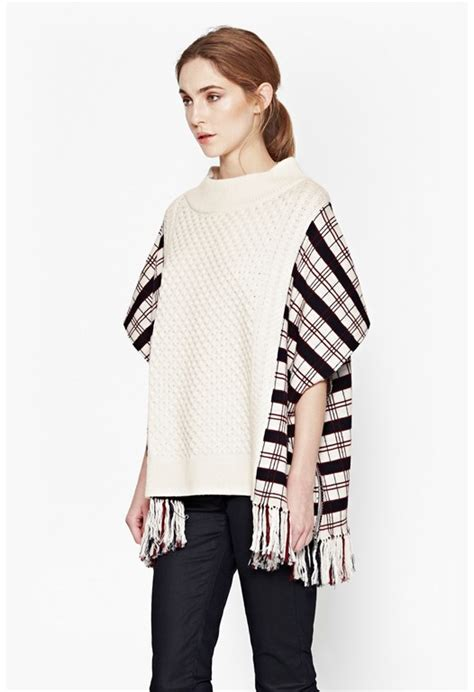 Plaid Woolen Cape Cardigan 15946 womens knitwear jumpers cardigans connection