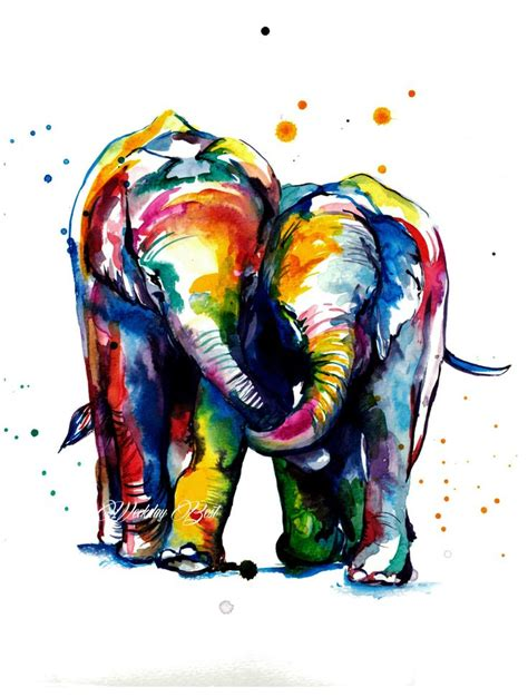 old watercolor tattoo colorful elephants holding trunks watercolor painting