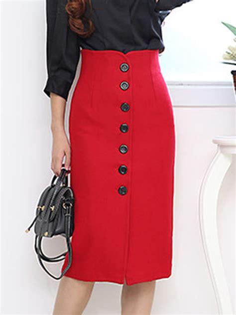 Slit Plain Midi Skirt plain single breasted slit woolen pencil midi skirt