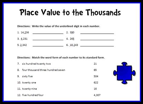 Printable Place Value Worksheets by Place Value To The Thousands Place Printable Worksheet With Answer Key Lesson Activity