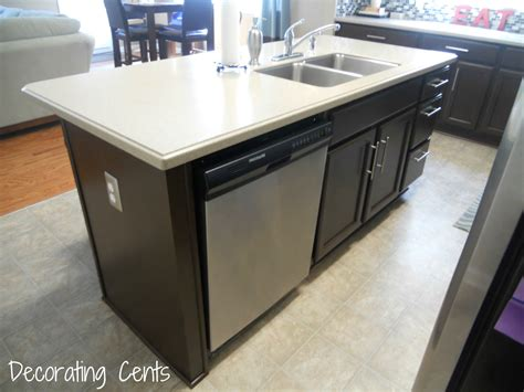 kitchen island with dishwasher and sink share