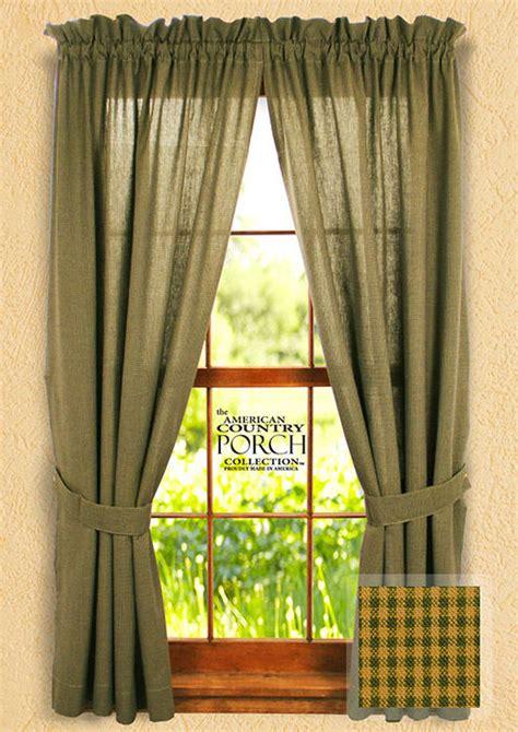 cottage drapes cottage green minicheck tieback curtain panels