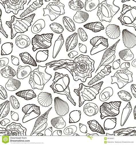 ocean background coloring page seashell coloring pattern