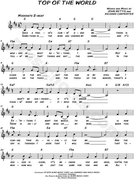 thesweethome best sheets the carpenters quot top of the world quot sheet music leadsheet