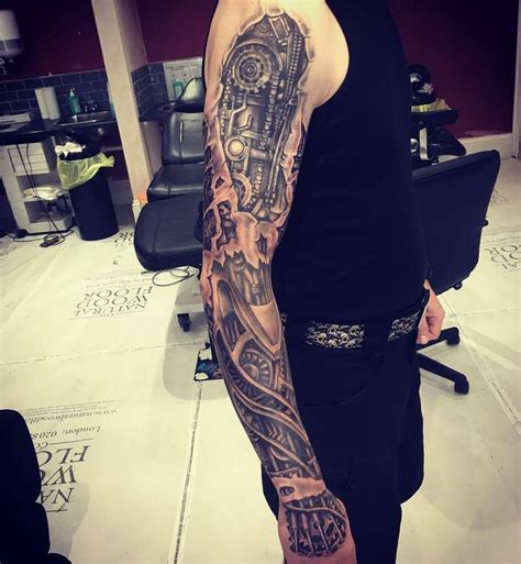 skinny arm tattoos another pass on this bio mechanical skin rip sleeve needs