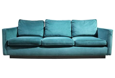 emerald green couch emerald green velvet 1970s plinth base sofa at 1stdibs