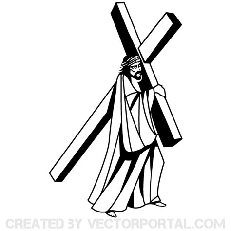 jesus with cross on shoulder clipart collection
