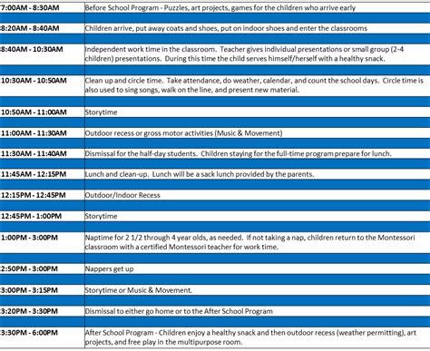 Csu Mba Schedule by 3 6 Year Schedule I Michigan Montessori Childrens Academy