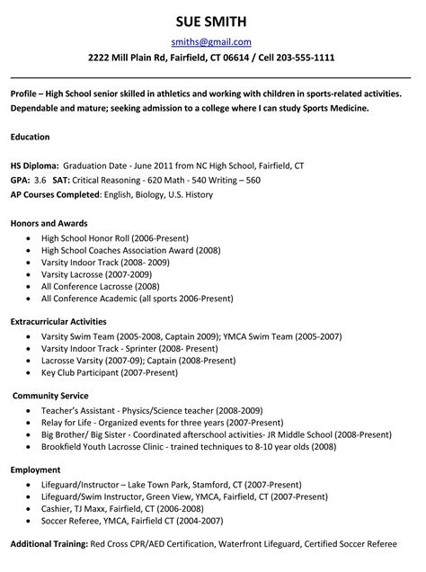 how to write resume for high school student activities resume for college template