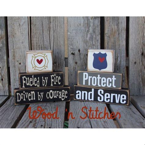 Firefighter Fireman Police Policeman Wood Block Set Dad Firefighter Nursery Decor