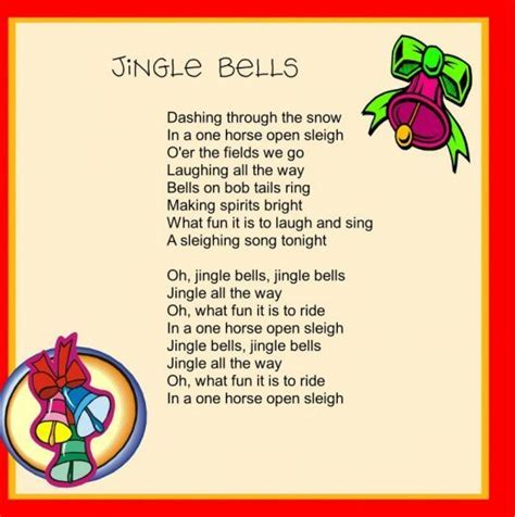 printable version of jingle bells jingle bells lyrics christmas pinterest