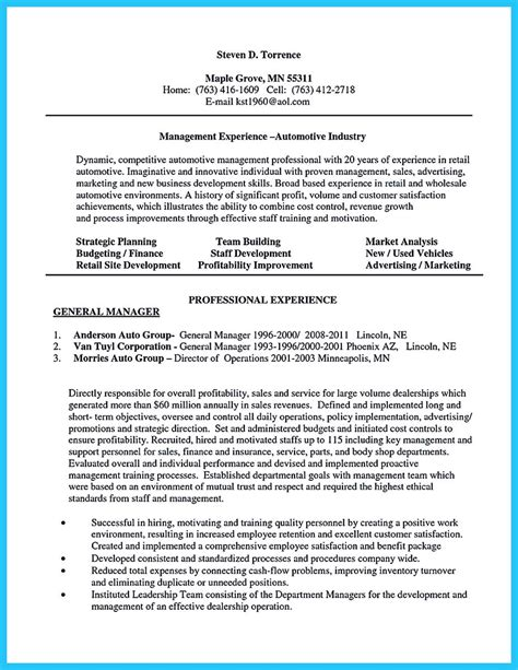 car resume exles writing a clear auto sales resume