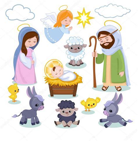 presepe clipart conjunto de elementos de cena de natal desenho animado