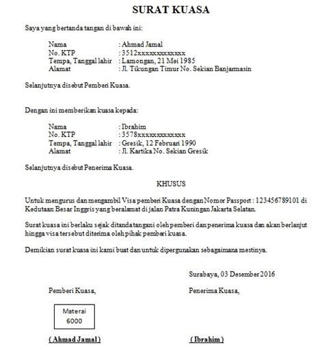 contoh surat kuasa pengambilan visa cara buat surat