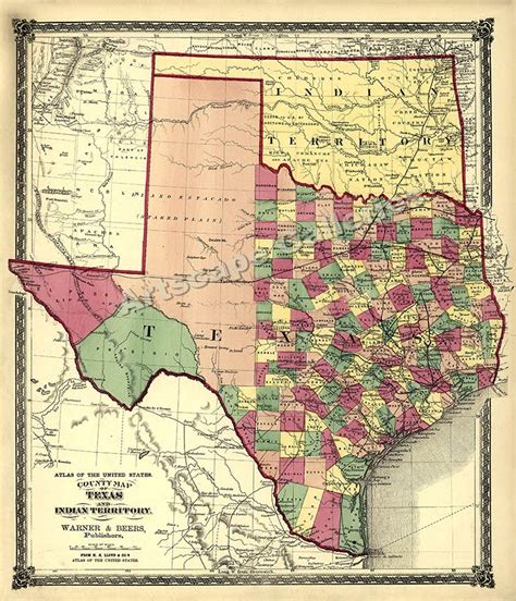 texas indian territory map 1875 map of texas counties and indian territory 24x28 ebay
