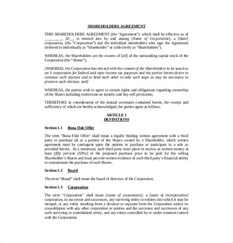shareholder agreement template shareholder agreement templates 9 free word pdf