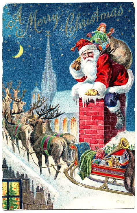 vintage christmas vintage graphic gorgeous santa with reindeer the
