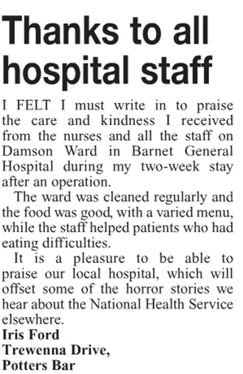 Thank You Letter Hospital Staff Feedback Of The Week 16 January 2015 Our Patient And Staff Stories News Media The