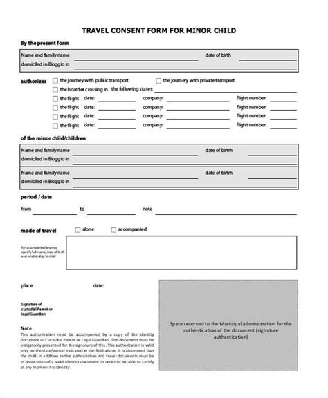 child travel consent form 44 consent form sles free sle exle format
