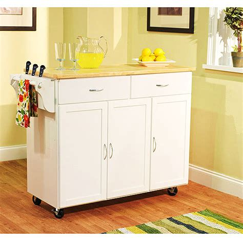 walmart kitchen islands large kitchen cart white with wood top walmart
