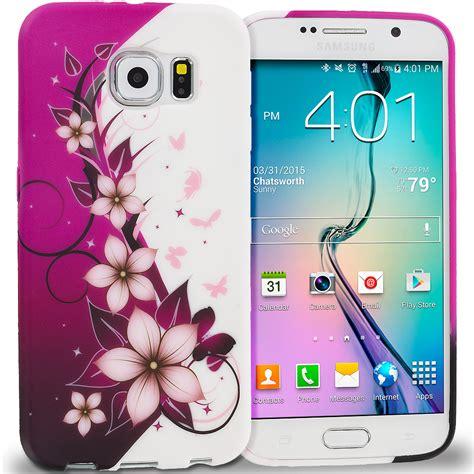 Samsung S6 Edge Soft Flower Rubber Casing Elegan for samsung galaxy s6 tpu design skin rubber soft cover accessory ebay