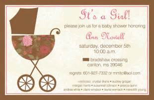 m designs pink and brown baby shower invitation