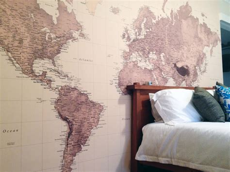 World Map In Bedroom by World Map Wallpaper In The Bedroom