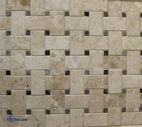marble basketweave mosaic tile black dots 1 215 2 polished tilestime com