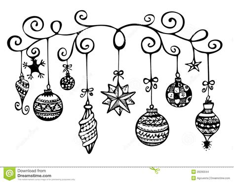 christmas ornaments sketch stock illustration